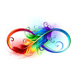 infinity symbol with rainbow feather vector image vector image