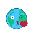 kissing world globe isolated emoticon vector image vector image