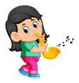 little girl playing saxophone vector image vector image