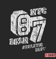 nyc bkln t-shirt textured stamp vector image