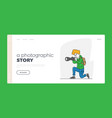 paparazzi character landing page template female vector image vector image