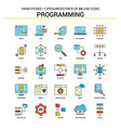 programming flat line icon set - business concept vector image