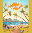 summer vacation loungers on sea beach landscape vector image vector image