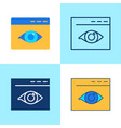 web visibility icon set in flat and line style vector image vector image