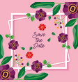 wedding save date flowers card vector image vector image
