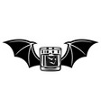 whiskey glass with bat wings vector image vector image