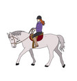 woman on gray horse vector image