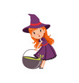 cute small red-haired girl witch dragging cauldron