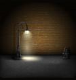 Vintage Streetlamp On Brick Wall Background vector image
