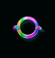 3d of a neon hand blank frame isolated on black vector image