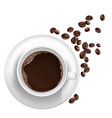 3d realistic cup of coffee beans vector image vector image