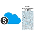Banking Cloud Icon with 1000 Medical Business vector image vector image