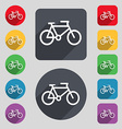 bike icon sign A set of 12 colored buttons and a vector image