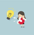 businesswoman attracting light bulbs with magnet vector image