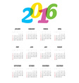 Calendar for 2016 year vector image vector image