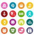 charity icons set colorful circles vector image vector image