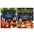 christmas dinner poster of festive dishes on table vector image vector image