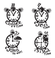 clocks and different food and drinks vector image vector image