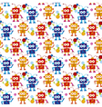 colorful cute robot seamless pattern on white vector image vector image