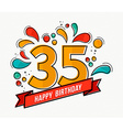 Colorful happy birthday number 35 flat line design vector image vector image