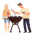 couple grilling meat man and woman cooking vector image vector image