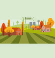 cute eco farming concept landscape with house and vector image
