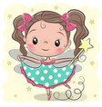 cute fairy on a yellow background vector image