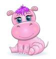 cute hippo cartoon with beautiful eyes hand-drawn vector image vector image