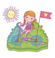 cute little girl riding bicycle in the landscape vector image