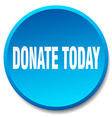 donate today blue round flat isolated push button vector image vector image