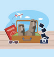 easter island in baggage with passport and vector image vector image