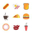 Fast food icons set for menu cafe and restaurant vector image vector image