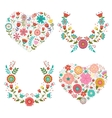 Floral wreaths and hearts collection vector image