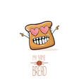 funny cartoon cute sliced bread character vector image vector image