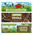 gardening banners gardener equipment vector image vector image