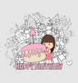 girl with birthday cupcake background happy vector image
