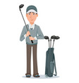 golf player handsome golfer cartoon character vector image vector image
