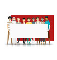 group multi ethnic men holding empty board vector image