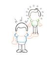 hand-drawn cartoon of muscleman lifting puny guy vector image