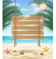 hanging wood board with sea sand beach background vector image vector image