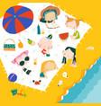 happy children having picnic at sea coast hello vector image
