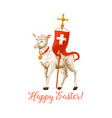 happy easter lamb and cross icon vector image vector image