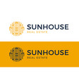 house sun logo real estate building icon sign vector image vector image