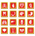 human organs icons set red vector image vector image