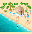 isometric sea beach with a beautiful bar vector image vector image