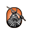 Japanese Samurai Warrior Sword Retro vector image