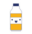 kawaii milk bottle in color sections silhouette vector image vector image