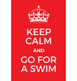 Keep Calm and go for a swim poster vector image vector image