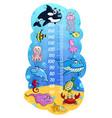 kids height chart cartoon sea animals growth meter vector image