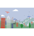 Landscape with village and city vector image vector image